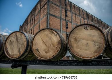 Bourbon barrels at a distillery along the Bourbon Trail in Kentucky.