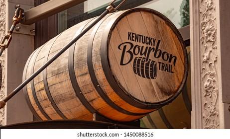 Bourbon Barrels in Louisville Kentucky - LOUISVILLE, KENTUCKY - JUNE 14, 2019
