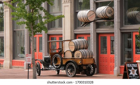 Bourbon Barrels in Louisville Kentucky - LOUISVILLE, USA - JUNE 14, 2019
