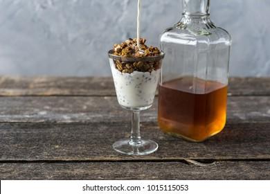 Bourbon granola with cream breakfast whiskey bottle