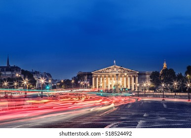 The Bourbon Palace in Paris is the place where National Assembly meets. It located on the left bank of the Seine in Paris, across from the Place de la Concorde. Paris cityscape night view.