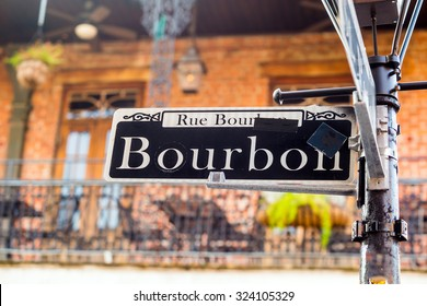 Bourbon Street sign in the French Quarter of New Orleans, Louisiana