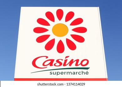 Bourg, France - April 5, 2019: Casino supermarket logo on a panel. Casino is a hypermarket and supermarket chain based in Saint Etienne, France
