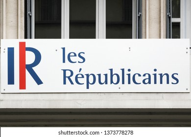 Bourg, France - April 7, 2019: Logo of Les republicains on a building. Les republicains also called LR is a centre-right, Gaullist, conservative political party in France