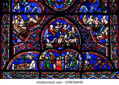Bourges, France - november 26 2017:  cathedral stained glass - The Last Judgement Window - The dead rising from their tombs