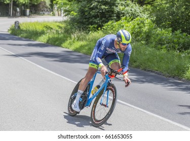BOURGOIN-JALIEU, FRANCE- 07 JUNE, 2017: The Belgian cyclist Guillaume Van Keirsbulck of Wanty-Groupe Gobert Team riding during the time trial stage 4 of Criterium du Dauphine 2017.