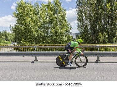 BOURGOIN-JALIEU, FRANCE- 07 JUNE, 2017:  The Dutch cyclist Sebastian Langeveld of Cannondale-Drapac Team riding during the time trial stage 4 of Criterium du Dauphine 2017.
