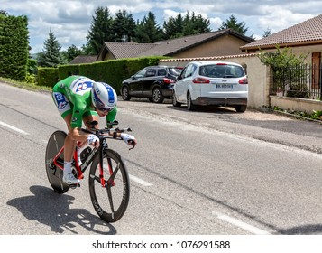 Bourgoin-Jallieu, France - 07, May, 2017: The French cyclist Arnaud Demar of FDJ Team riding during the time trial stage 4 of Criterium du Dauphine 2017.