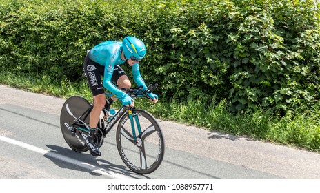 Bourgoin-Jallieu, France - 07, May, 2017: The Kazakh cyclist Nikita Stalnov of Astana Team riding during the time trial stage 4 of Criterium du Dauphine 2017.