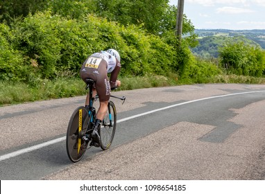 Bourgoin-Jallieu, France - 07, May, 2017: The French cyclist Julien Duval of AG2R La Mondiale Team riding during the time trial stage 4 of Criterium du Dauphine 2017.