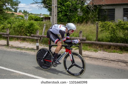 Bourgoin-Jallieu, France - 07, May, 2017: The Dutch cyclist Lennard Hofstede of Sunweb Team riding during the time trial stage 4 of Criterium du Dauphine 2017.