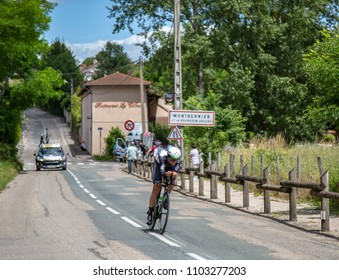 Bourgoin-Jallieu, France - 07, May, 2017: The Australian cyclist Ben O'Connor of Dimension Data Team riding during the time trial stage 4 of Criterium du Dauphine 2017.
