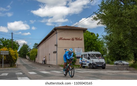 Bourgoin-Jallieu, France - 07, May, 2017: The French cyclist Julien El Fares of Delko-Marseille Provence KTM Team riding during the time trial stage 4 of Criterium du Dauphine 2017.