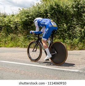 Bourgoin-Jallieu, France - 07, May, 2017: The Belgian cyclist Julien Vermote of Quick-Step Team  riding during the time trial stage 4 of Criterium du Dauphine 2017.