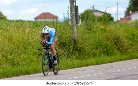 Bourgoin-Jallieu, France - 07, May, 2017: The Belgian cyclist Oliver Naesen of AG2R La Mondiale Team  riding during the time trial stage 4 of Criterium du Dauphine 2017.