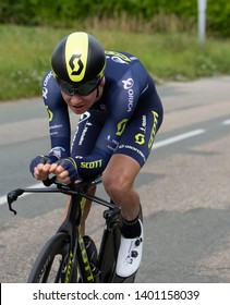 Bourgoin-Jallieu, France - 07, May, 2017: The Australian cyclist Jack Haig of Orica-Scott Team  riding during the time trial stage 4 of Criterium du Dauphine 2017.