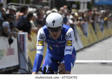 BOURGOIN-JALLIEU - JUNE 7:  Julien Vermote (BEL) races to the finish line of the stage 4 individual time trial at the Critérium du Dauphiné on June 7, 2017 in Bourgoin-Jallieu, France.