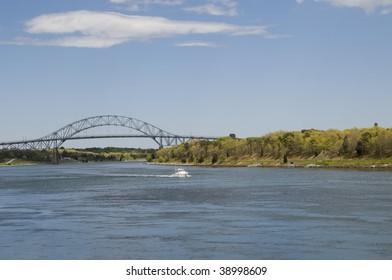 Bourne Bridge to Cape Cod and motor boat, Massachusetts