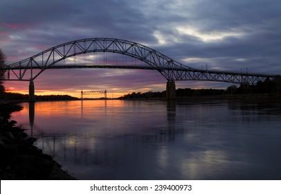 Bourne Bridge in Cape Cod at Sunset