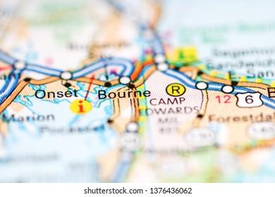 Bourne. Massachusetts. USA on a geography map