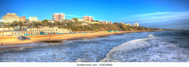 Bournemouth beach and coast panorama Dorset England UK like painting in vivid bright colour HDR