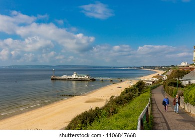 Bournemouth Dorset England May 14, 2016 Bournemouth beach and Pier