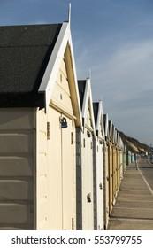 BOURNEMOUTH, DORSET, UK, JAN 3 2017: Beach Huts on the Seafront