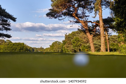 Bournemouth Queens Park Golf Course. Defocused golf ball on the grass field making ideal golfing sport themed advertising background. Stunning nature of Dorset Coast, England. Fresh air concept.