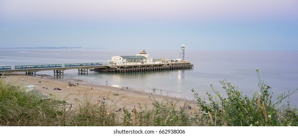 Bournemouth seafront skyline and Pier at twilight