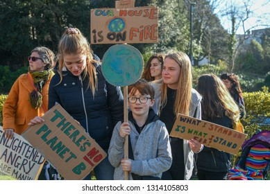 Bournemouth, UK February 15, 2019 Students, youths and working people demonstrate in front of town hall as a part of a coutry wide protest calling for action to stop climate change