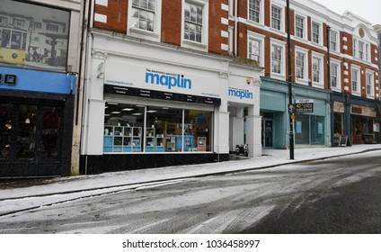 Bournemouth, UK March 01, 2018 Bournemouth high street store of electronic retailer, Maplin which has gone bust recently Bournemouth, UK on March 01, 2018.