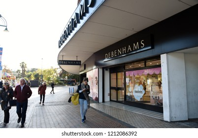 Bournemouth, UK October 25, 2018 Debenhams retail store in the town center