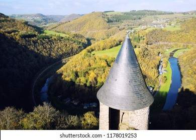 Bourscheid, Luxembourg - October 29, 2017: Bourscheid Castle, Luxembourg. The watchtower of the medieval castle with a view of River Sûre horseshoe bend.