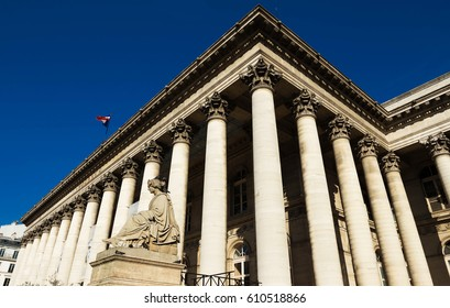 The Bourse of Paris located in Brongniart palace in the 2nd arrondissement of Paris, France.