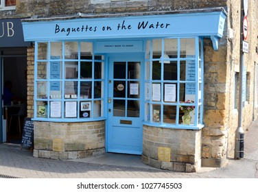 BOURTON ON THE WATER, UK - JUNE 21, 2017: A view outside the sandwich shop, Baguettes on the water in Bourton on the water, Gloucestershire, UK