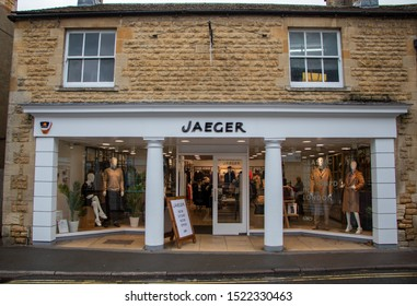 Bourton-on-the-Water, Gloucestershire / England - 09/09/2019: A branch of the British fashion retailer Jaeger.