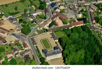 Boury en Vexin, France - july 7 2017 : aerial picture of the village and the castle