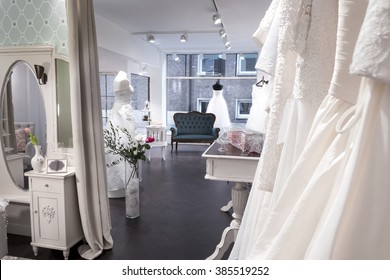 Boutique Bridal Shop, changing area and shop interior, Beautiful Wedding Gowns