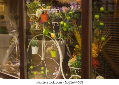 Boutique window with flowers and gifts
