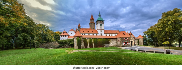 Bouzov Castle is an early 14th-century fortress first mentioned in 1317. It was built on hill between village of Hvozdek and town of Bouzov,