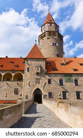 Bouzov Castle - an early 14th-century fortress first mentioned in 1317, built on a hill between the village of Hvozdek and the town of Bouzov, northwest of Olomouc, Moravia, Czech Republic
