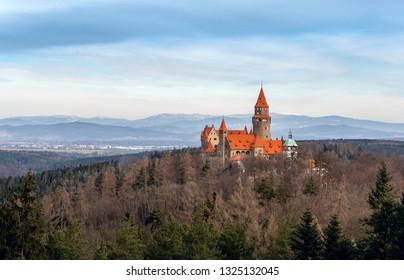 BOUZOV, CZECH REPUBLIC - 23TH FEBRUARY 2019: Winter panorama aerial view to Bouzov castle, Moravia, Czech republic, Europe.