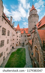 BOUZOV, CZECH REPUBLIC - AUGUST 8, 2018: Pictures of the rooms at the Bouzov castle on the tour.