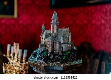 BOUZOV, CZECH REPUBLIC - AUGUST 8, 2018: Picture of the Iron miniature of Bouzov castle.