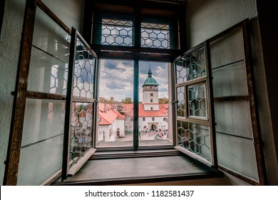 BOUZOV, CZECH REPUBLIC - AUGUST 8, 2018: Picture of the view from the window of the castle Bouzov.