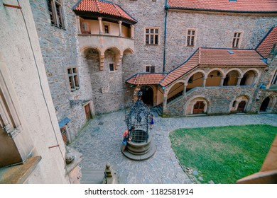 BOUZOV, CZECH REPUBLIC - AUGUST 8, 2018: Picture of the main courtyard on the Bouzov castle.
