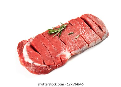 bovine meat on a white background