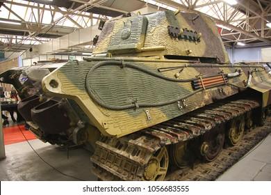 BOVINGTON, DORSET, UK - JULY 7, 2012: German Sd Kfz 182 Panzerkampfwagen VI Ausf B King Tiger 104, on display at the Bovington Tank Museum in Dorset.