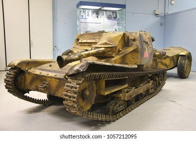 BOVINGTON, DORSET, UK - JULY 7, 2012: Italian Carro-Veloce 3-33 and trailer, a small mobile flamethrower, on display at the Bovington Tank Museum in Dorset.