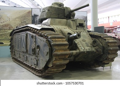 BOVINGTON, DORSET, UK - JULY 7, 2012: French Char B-1 Bis, Heavy Tank, on display at the Bovington Tank Museum in Dorset.